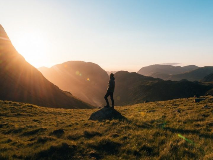 man on a hike, travel, sunset